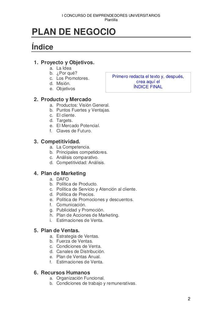 ejemplo plan negocio