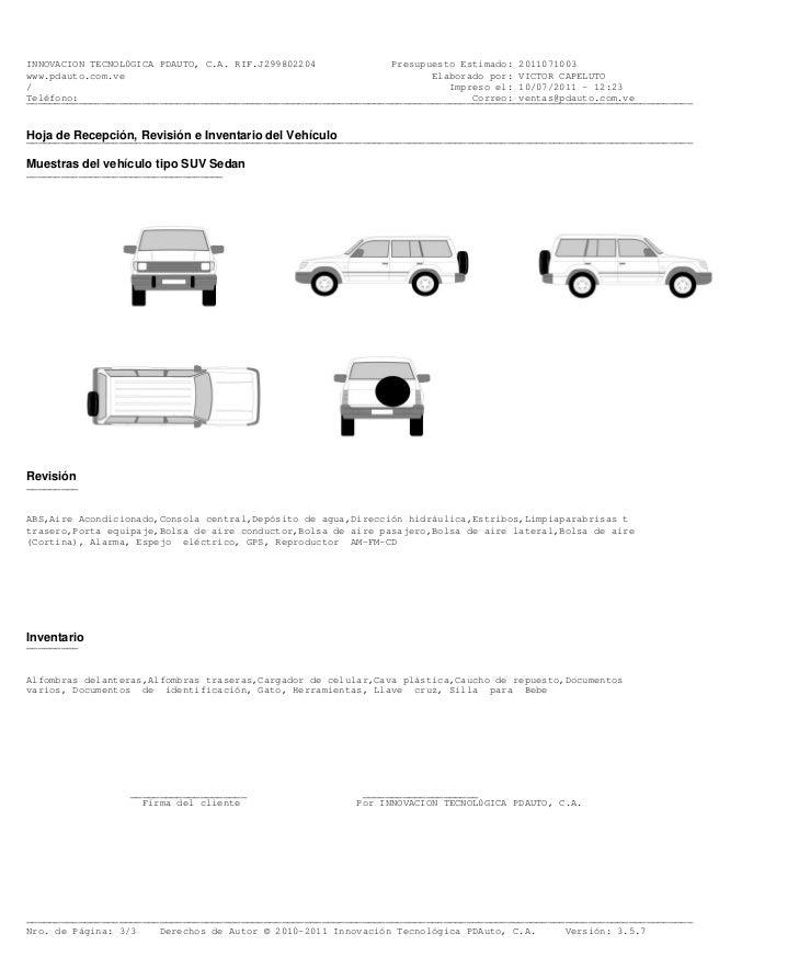 ejemplo presupuesto pintar techo ford explorer 2010