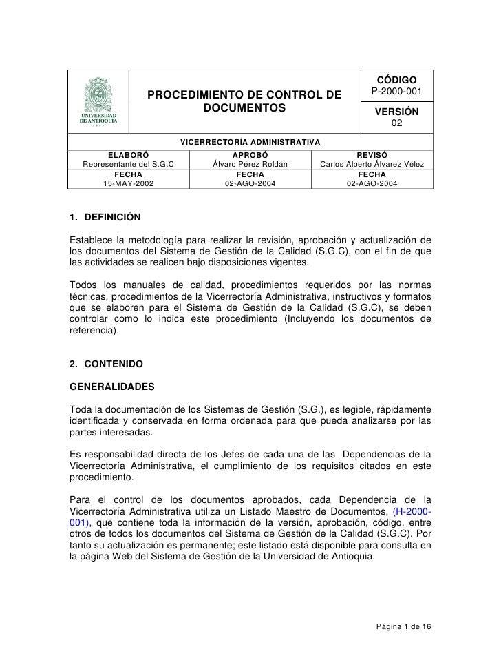 Ejemplo procedimiento documentos Manual de procesos y procedimientos de una empresa de alimentos