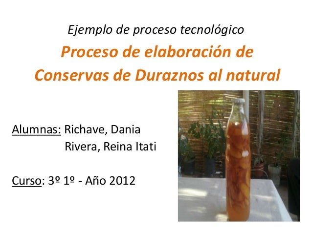 Ejemplo de proceso tecnológico       Proceso de elaboración de    Conservas de Duraznos al naturalAlumnas: Richave, Dania ...