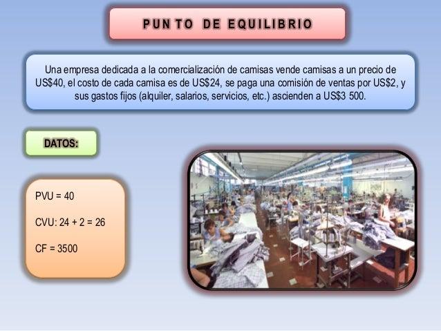 PUN TO DE EQUILIBRIO  Una empresa dedicada a la comercialización de camisas vende camisas a un precio deUS$40, el costo de...