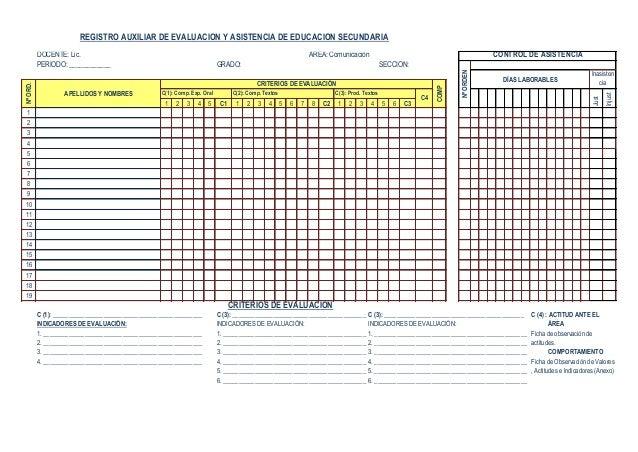 ejemplo registros auxiliares de evaluaci u00f3n