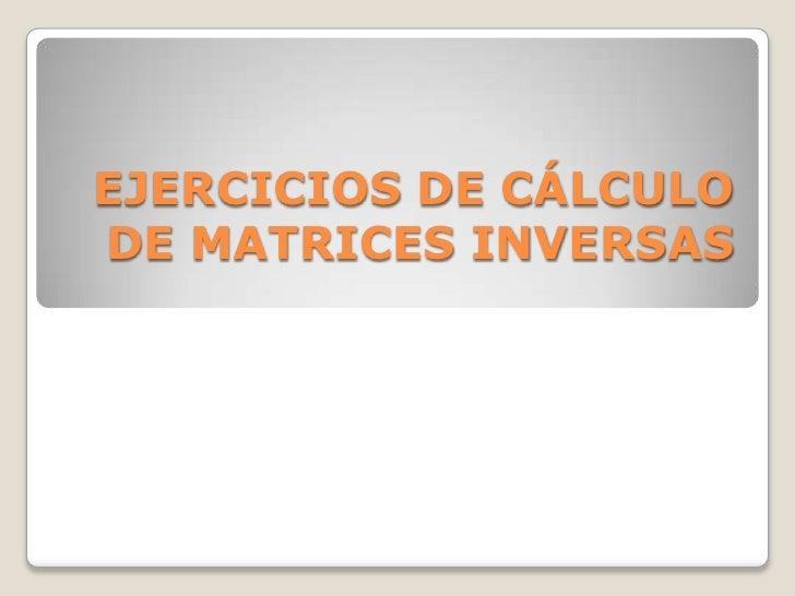 EJERCICIOS DE CÁLCULO DE MATRICES INVERSAS<br />