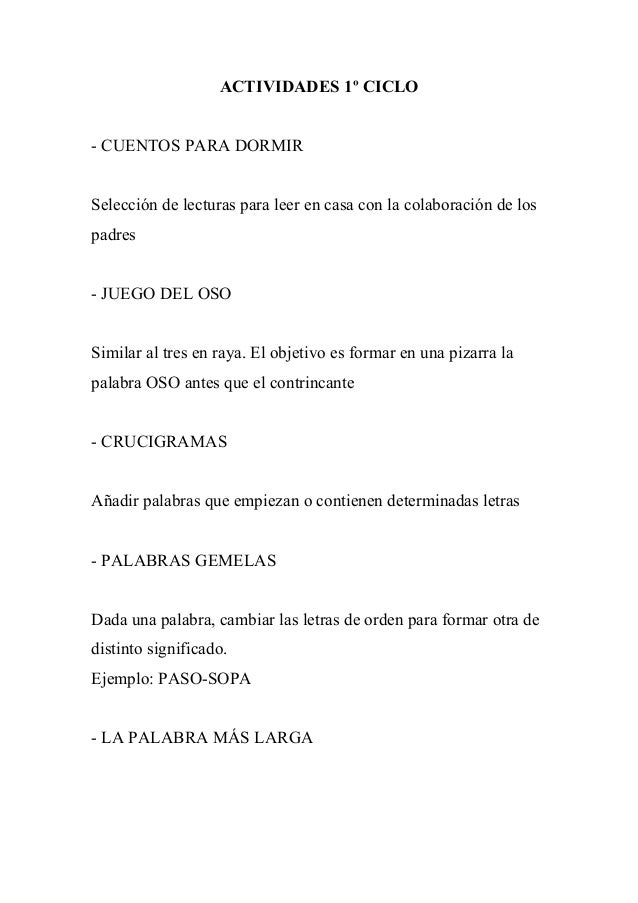 ACTIVIDADES 1º CICLO- CUENTOS PARA DORMIRSelección de lecturas para leer en casa con la colaboración de lospadres- JUEGO D...