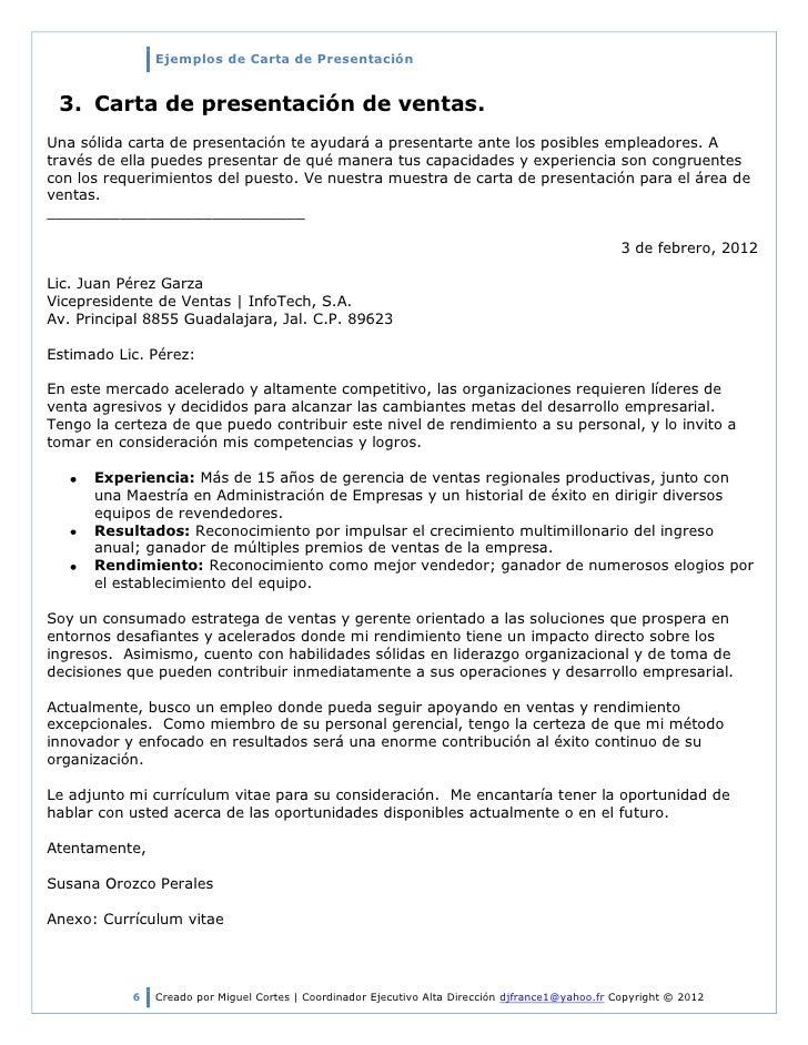 Ejemplos De Cartas De PresentacióN 2012