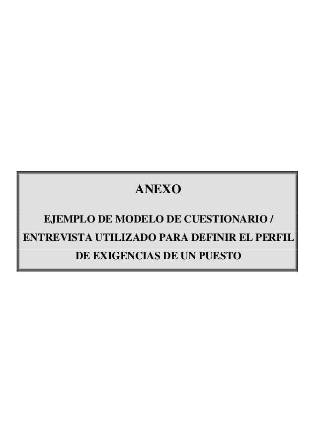 ANEXO EJEMPLO DE MODELO DE CUESTIONARIO / ENTREVISTA UTILIZADO PARA DEFINIR EL PERFIL DE EXIGENCIAS DE UN PUESTO