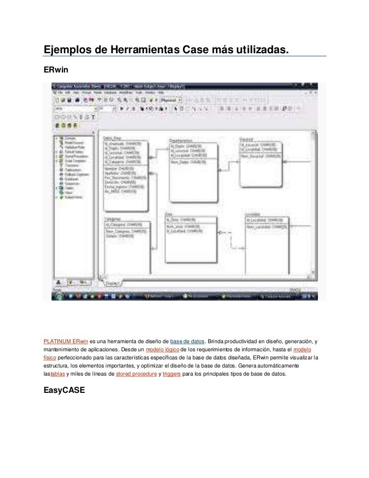"Ejemplos de Herramientas Case más utilizadas.<br />ERwin<br />HYPERLINK ""http://www.ecured.cu/index.php?title=PLATINUM_ERw..."