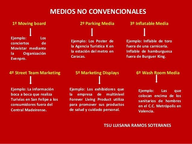 MEDIOS NO CONVENCIONALES 1º Moving board  2º Parking Media  Ejemplo: Los conciertos de Movistar mediante la Organización E...