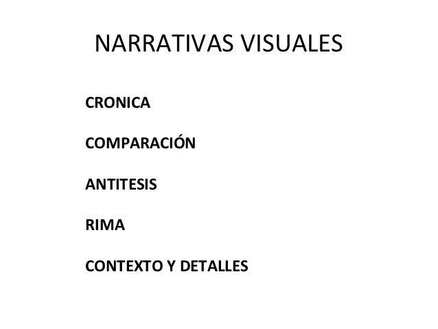NARRATIVAS VISUALESCRONICACOMPARACIÓNANTITESISRIMACONTEXTO Y DETALLES