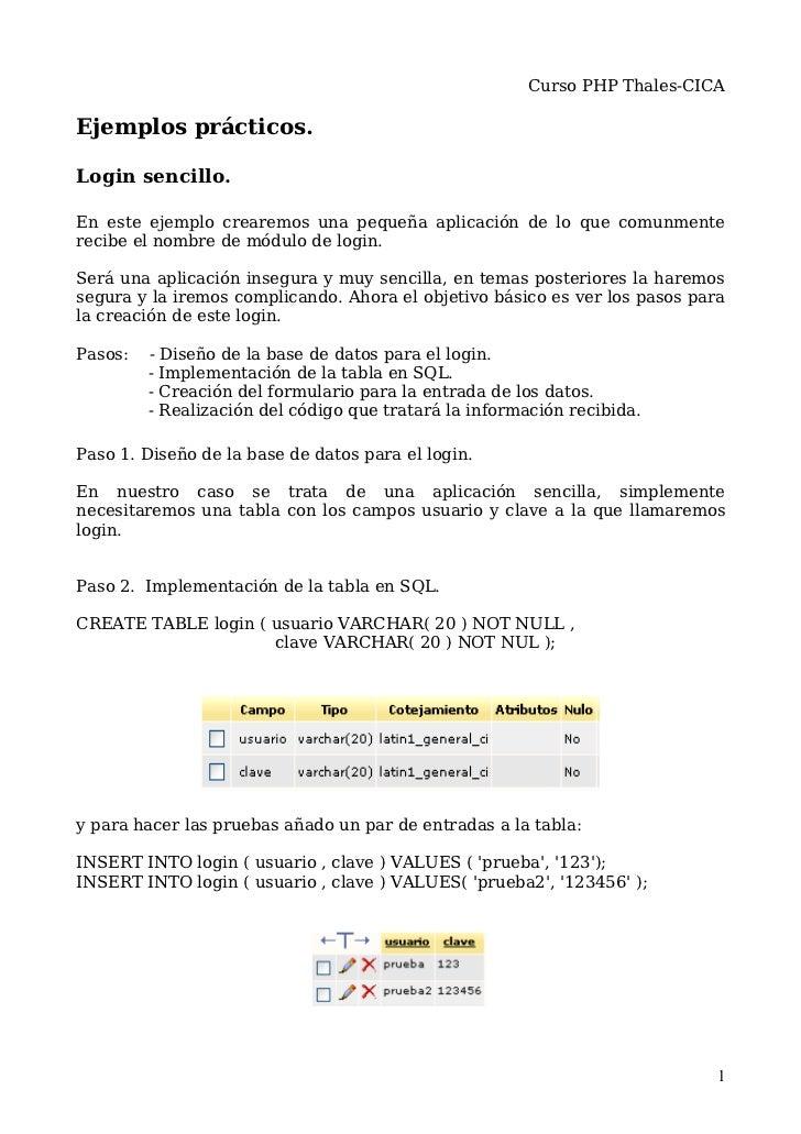 Curso PHP Thales-CICAEjemplos prácticos.Login sencillo.En este ejemplo crearemos una pequeña aplicación de lo que comunmen...