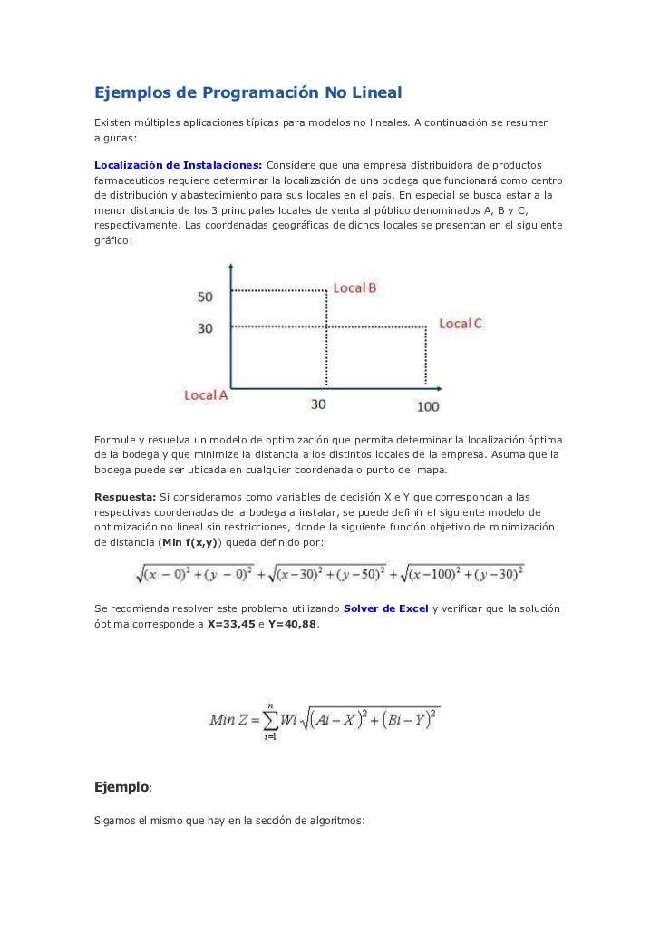 Ejemplos de Programación No LinealExisten múltiples aplicaciones típicas para modelos no lineales. A continuación se resum...
