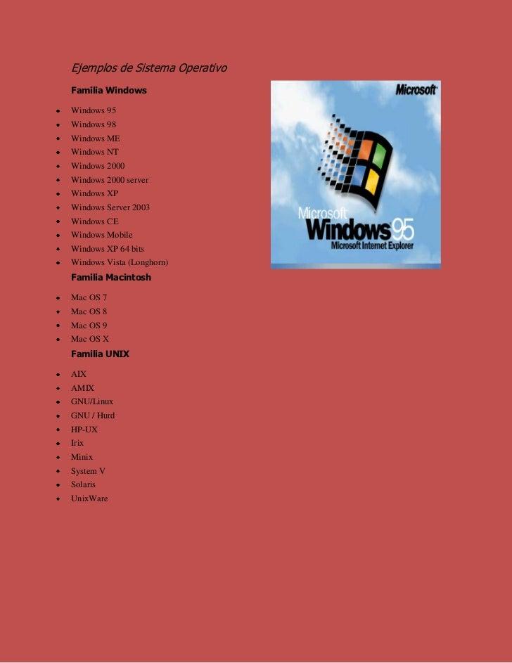 Ejemplos de Sistema Operativo<br />Familia Windows<br />Windows 95<br />Windows 98<br />Windows ME<br />Windows NT<br />Wi...