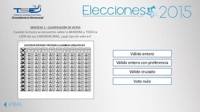 EJERCICIO 1 – CLASIFICACIÓN DE VOTOS Cuando la marca se encuentre sobre la BANDERA y TODA la LISTA de sus CANDIDATURAS, ¿q...