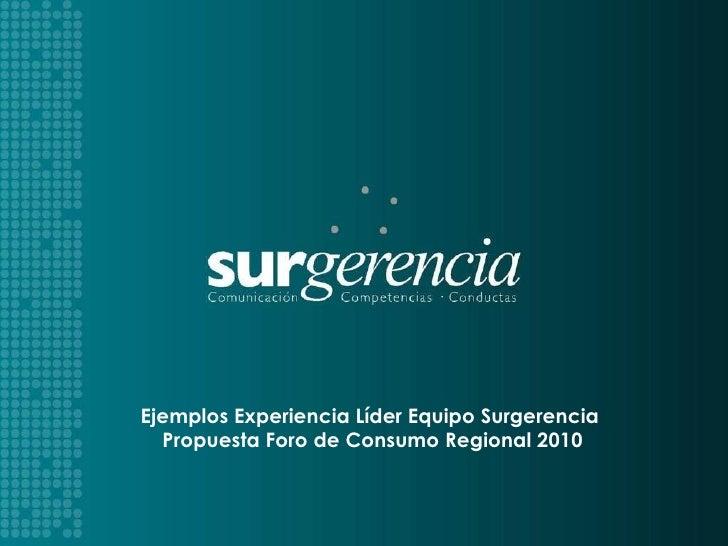 SURGERIMOS   PARA EL ÉXITO Ejemplos Experiencia Líder Equipo Surgerencia  Propuesta Foro de Consumo Regional 2010