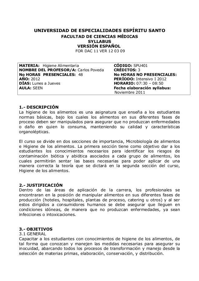 UNIVERSIDAD DE ESPECIALIDADES ESPÍRITU SANTO FACULTAD DE CIENCIAS MÉDICAS SYLLABUS VERSIÓN ESPAÑOL FOR DAC 11 VER 12 03 09...