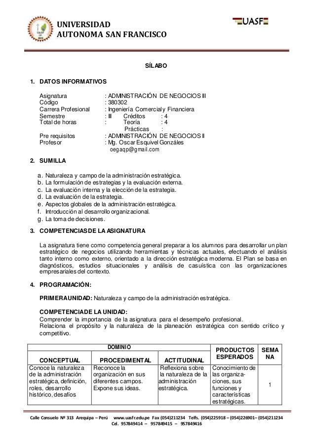 UNIVERSIDAD AUTONOMA SAN FRANCISCO Calle Consuelo Nº 313 Arequipa – Perú www.uasfr.edu.pe Fax (054)211234 Telfs. (054)2259...