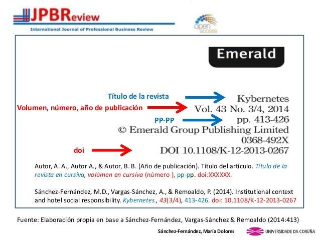 Sánchez-Fernández, María Dolores Volumen, número, año de publicación doi PP-PP Título de la revista Autor, A. A., Autor A....