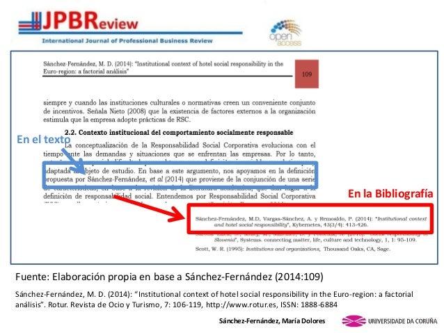 En la Bibliografía Sánchez-Fernández, María Dolores En el texto Fuente: Elaboración propia en base a Sánchez-Fernández (20...