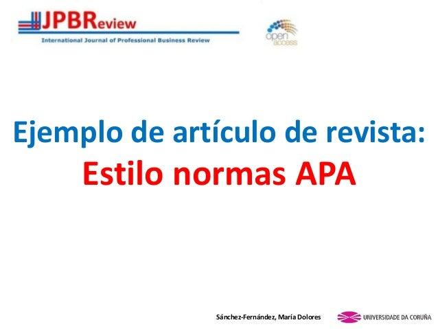 Ejemplo de artículo de revista: Estilo normas APA Sánchez-Fernández, María Dolores