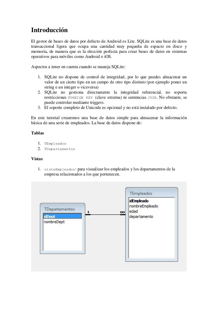 IntroducciónEl gestor de bases de datos por defecto de Android es Lite. SQLite es una base de datostransaccional ligera qu...