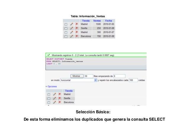 Tabla: Información_Ventas         Selección Condicional Simple Compuesta:Tiendas cuyas ventas son mayores de 1000 ó las ve...