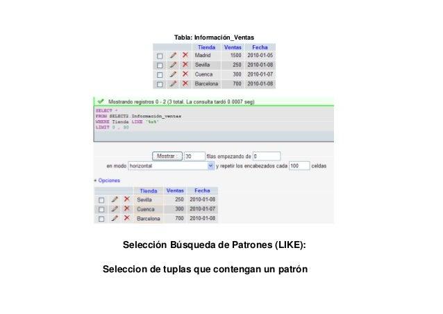Tabla: Información_Ventas         Selección Ordenación de Resultados (ORDER BY):En este ejemplo se clasifican las tuplas e...