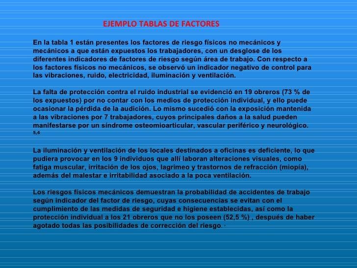 Ejemplo tabla de factores