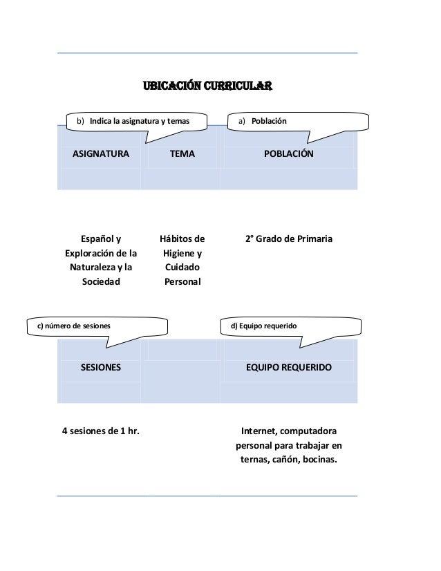 UBICACIÓN CURRICULAR           b) Indica la asignatura y temas      a) Población          ASIGNATURA                TEMA  ...