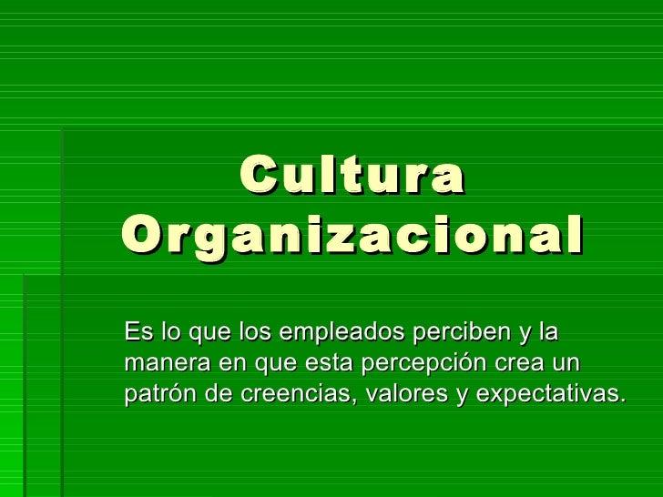 Cultura Organizacional Es lo que los empleados perciben y la manera en que esta percepción crea un patrón de creencias, va...