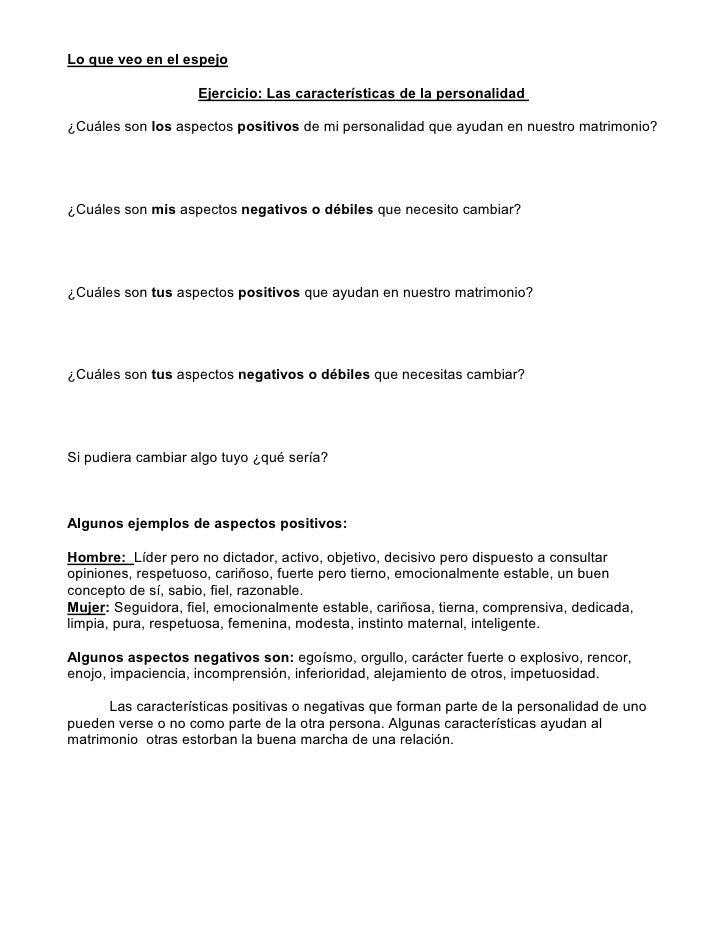 Lo que veo en el espejo                      Ejercicio: Las características de la personalidad  ¿Cuáles son los aspectos p...