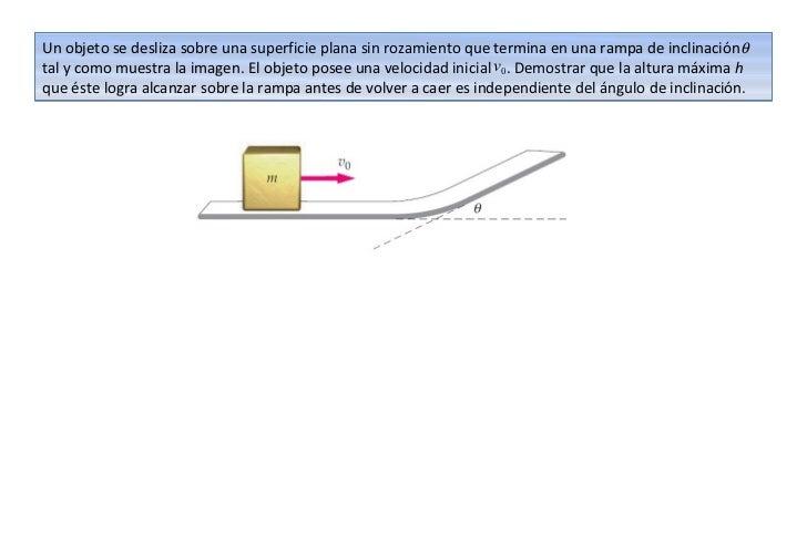 Un objeto se desliza sobre una superficie plana sin rozamiento que termina en una rampa de inclinaciónθtal y como muestra ...