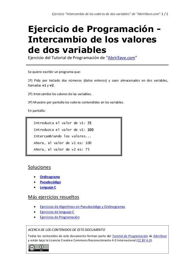 """Ejercicio """"Intercambio de los valores de dos variables"""" de """"Abrirllave.com"""" 1 / 1 Ejercicio de Programación - Intercambio ..."""