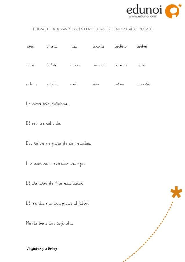 Ejercicio Lectura De Palabras Y Frases Con Silabas Directas