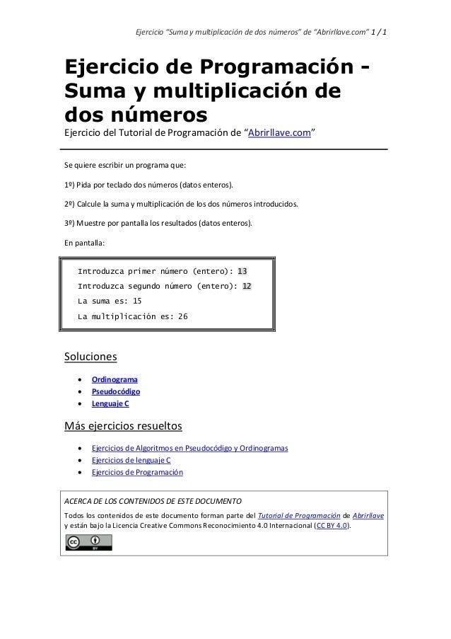 """Ejercicio """"Suma y multiplicación de dos números"""" de """"Abrirllave.com"""" 1 / 1 Ejercicio de Programación - Suma y multiplicaci..."""