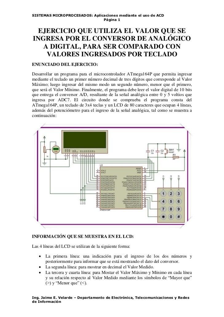 SISTEMAS MICROPROCESADOS: Aplicaciones mediante el uso de ACD                               Página 1  EJERCICIO QUE UTILIZ...