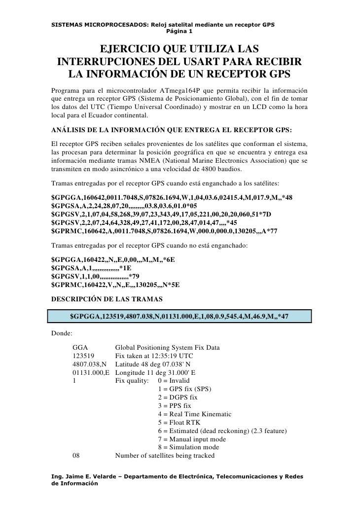 SISTEMAS MICROPROCESADOS: Reloj satelital mediante un receptor GPS                               Página 1        EJERCICIO...