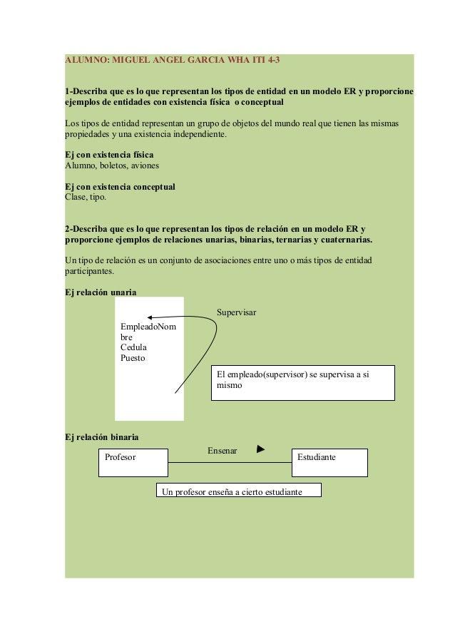 ALUMNO: MIGUEL ANGEL GARCIA WHA ITI 4-31-Describa que es lo que representan los tipos de entidad en un modelo ER y proporc...