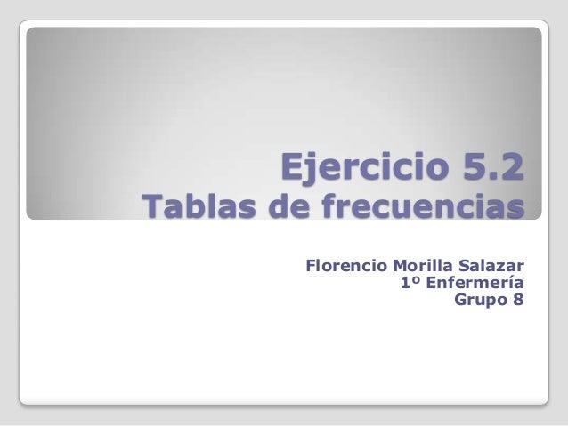 Ejercicio 5.2Tablas de frecuenciasFlorencio Morilla Salazar1º EnfermeríaGrupo 8