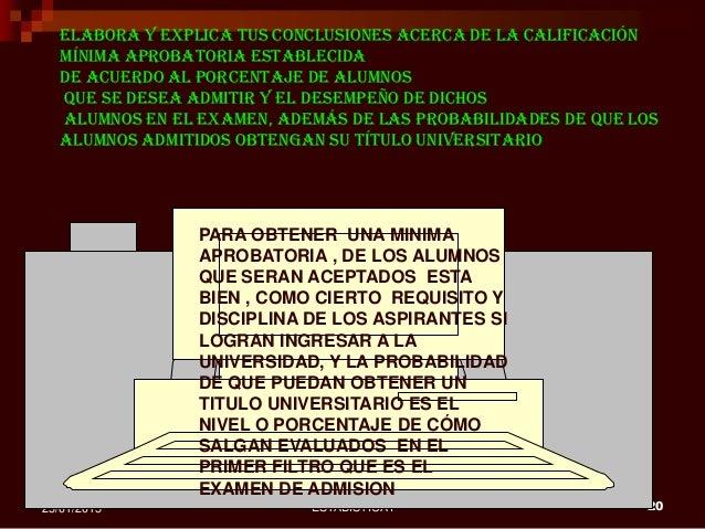 ESTADISTICA I 2025/01/2015 Elabora y explica tus conclusiones acerca de la calificación mínima aprobatoria establecida de ...