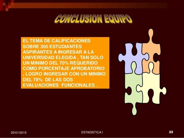 ESTADISTICA I 2225/01/2015 EL TEMA DE CALIFICACIONES SOBRE 300 ESTUDIANTES ASPIRANTES A INGRESAR A LA UNIVERSIDAD ELEGIDA ...