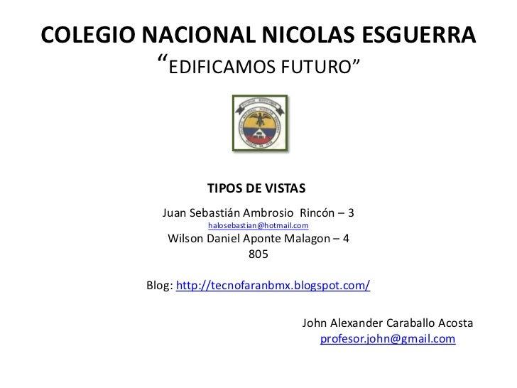 """COLEGIO NACIONAL NICOLAS ESGUERRA         """"EDIFICAMOS FUTURO""""                  TIPOS DE VISTAS          Juan Sebastián Amb..."""