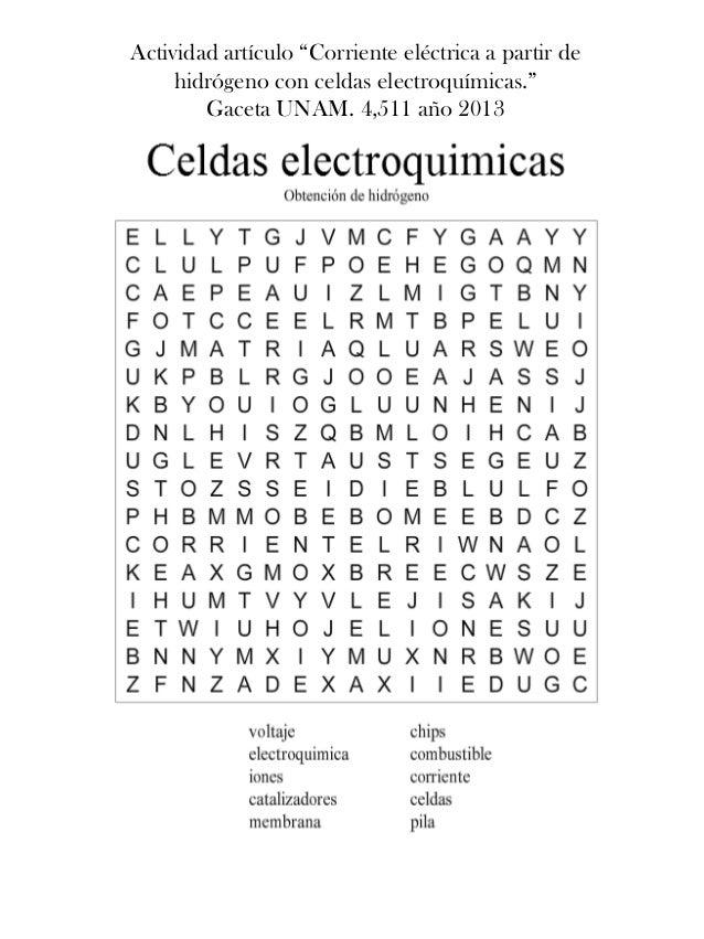 """Actividad artículo """"Corriente eléctrica a partir de hidrógeno con celdas electroquímicas."""" Gaceta UNAM. 4,511 año 2013"""