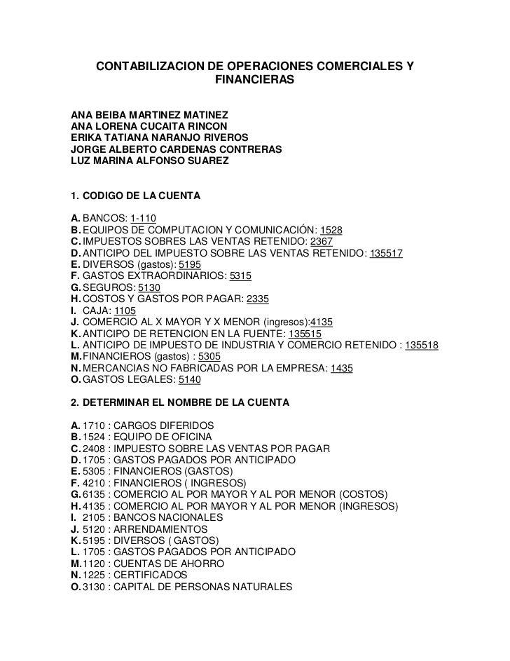 CONTABILIZACION DE OPERACIONES COMERCIALES Y FINANCIERAS<br />ANA BEIBA MARTINEZ MATINEZ<br />ANA LORENA CUCAITA RINCON<br...