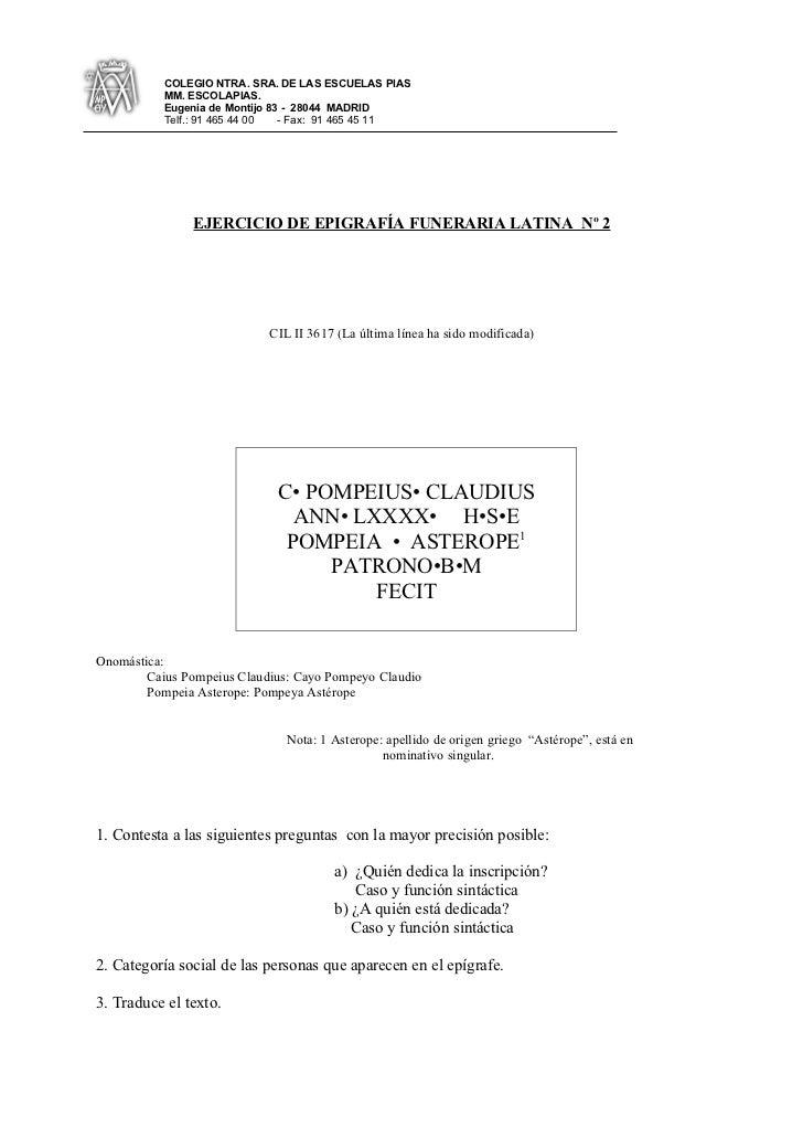 Ejercicio de epigrafía latina  2