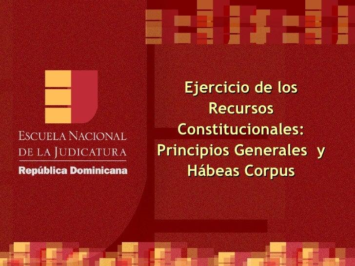 Ejercicio de los Recursos Constitucionales: Principios Generales  y Hábeas Corpus