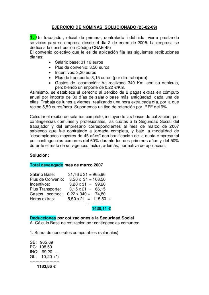 Ejercicio de n minas solucionado for Ejemplo nomina trabajador