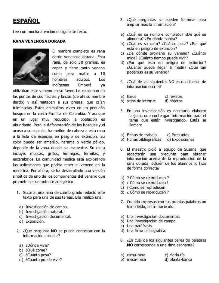 Ejercicio enlace cuarto grado for Espanol lecturas cuarto grado 1993