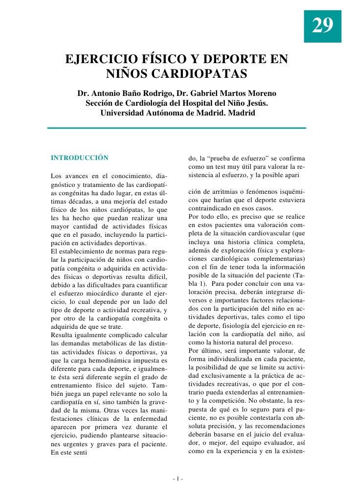 29      EJERCICIO FÍSICO Y DEPORTE EN           NIÑOS CARDIOPATAS          Dr. Antonio Baño Rodrigo, Dr. Gabriel Martos Mo...