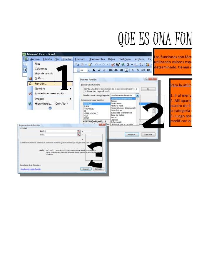 QUE ES UNA FUNCIÓN?              Las funciones son fórmulas predefin1              utilizando valores específicos, deno   ...