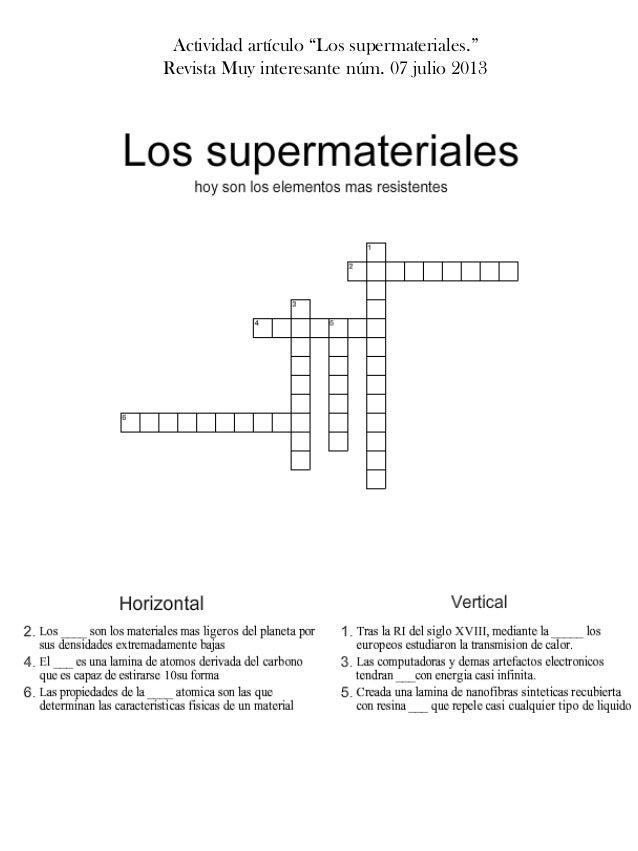 """Actividad artículo """"Los supermateriales."""" Revista Muy interesante núm. 07 julio 2013"""